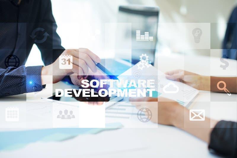 Desarrollo de programas Usos APPS para el negocio programación foto de archivo