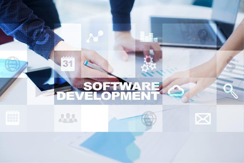 Desarrollo de programas Usos APPS para el negocio programación foto de archivo libre de regalías