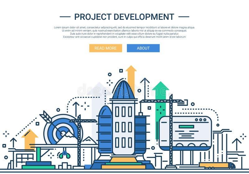 Desarrollo de proyecto - línea bandera del sitio web del diseño ilustración del vector