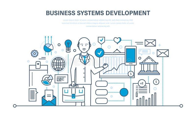 Desarrollo de sistemas empresariales, análisis e investigación, márketing, planeamiento, gráfico, estrategia ilustración del vector
