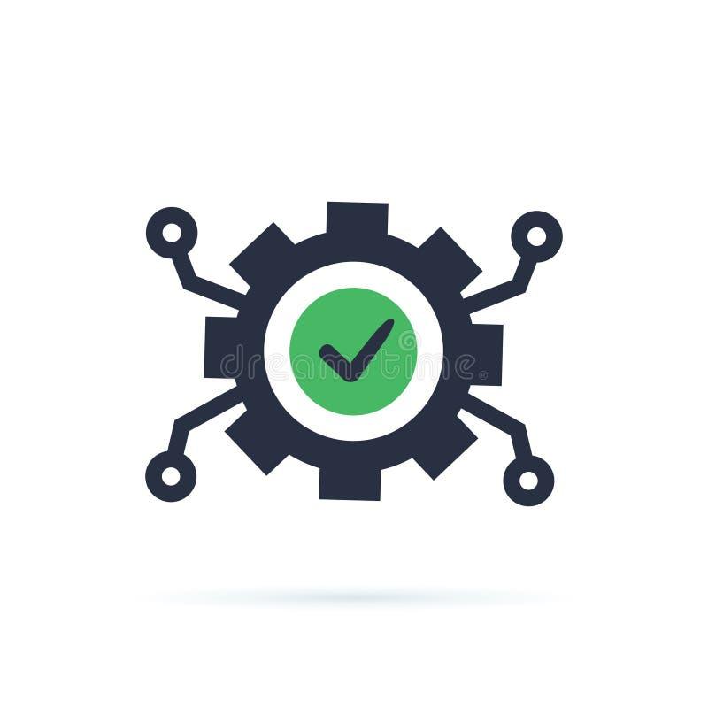 Desarrollo de tecnología, rueda dentada y marca de verificación, concepto de la innovación, integración de sistema, negocio del s ilustración del vector