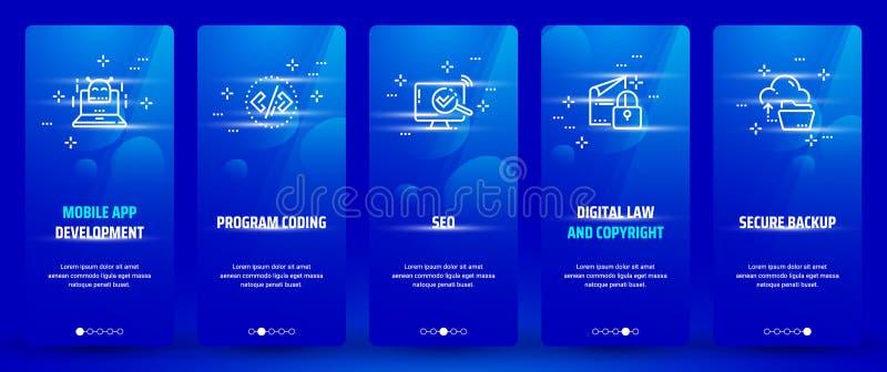Desarrollo del app, codificación del programa, ley y derechos reservados móviles, tarjetas verticales de reserva seguras de Seo,  libre illustration
