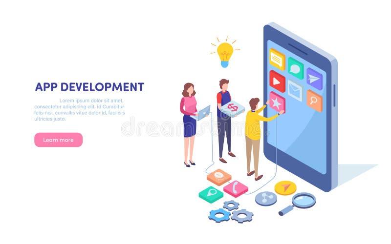 Desarrollo del App Programador, promotor Aplicación móvil Burbuja de Apps del concepto de Smartphone Vector isométrico del ejempl ilustración del vector