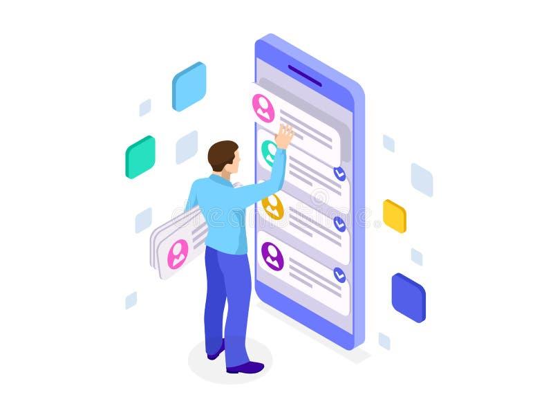 Desarrollo del app del ux y smartphone isométricos el sostenerse Experiencia del usuario Diseño y desarrollo del sitio web ilustración del vector