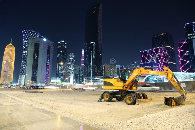 Desarrollo del centro financiero en Doha, Qatar imagen de archivo