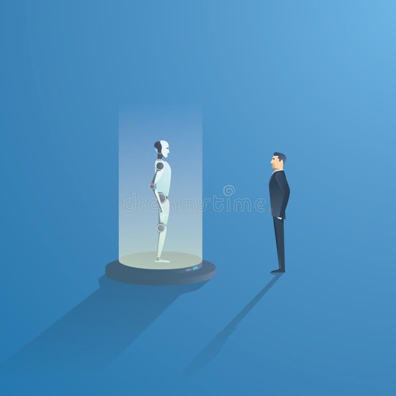 Desarrollo del concepto del vector de la inteligencia artificial Bot y hombre de negocios del AI Símbolo de la innovación, futuro libre illustration