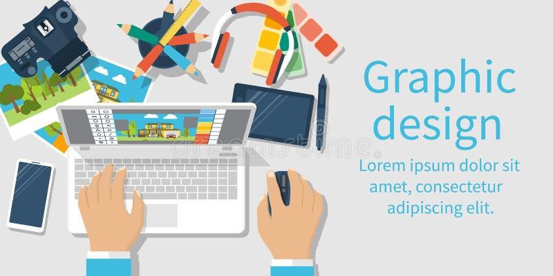 Desarrollo del diseño gráfico stock de ilustración