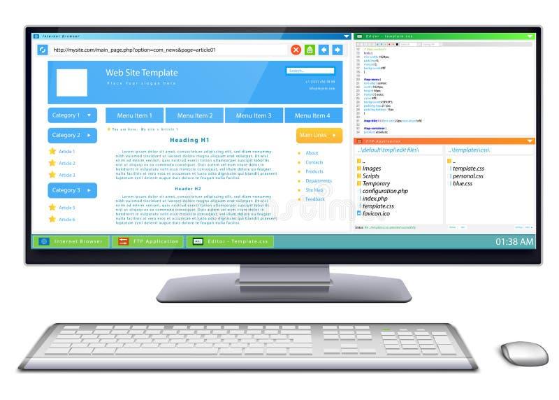 Desarrollo del sitio web stock de ilustración