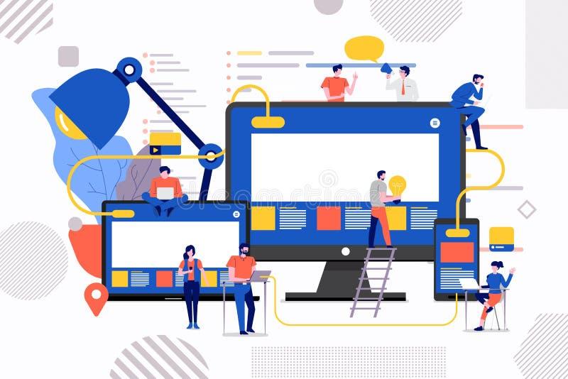 Desarrollo del sitio web del trabajo en equipo ilustración del vector