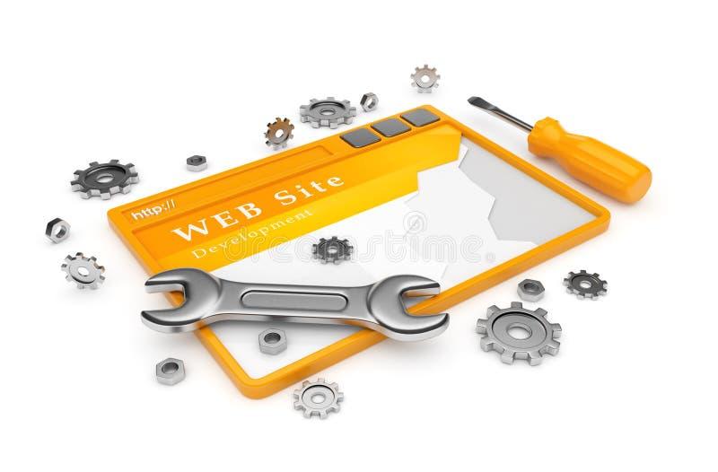 Desarrollo del Web site. WWW con las herramientas en blanco stock de ilustración
