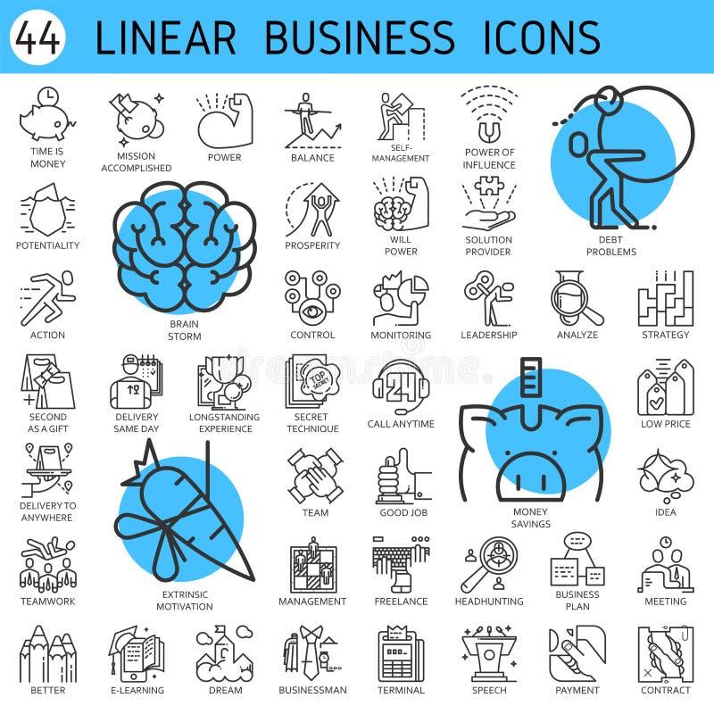 Desarrollo económico del negocio linear de los iconos del vector libre illustration