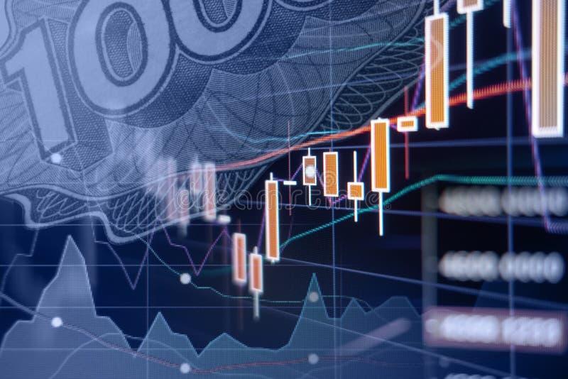 Desarrollo económico - gráficos y cartas del mercado de acción imagen de archivo