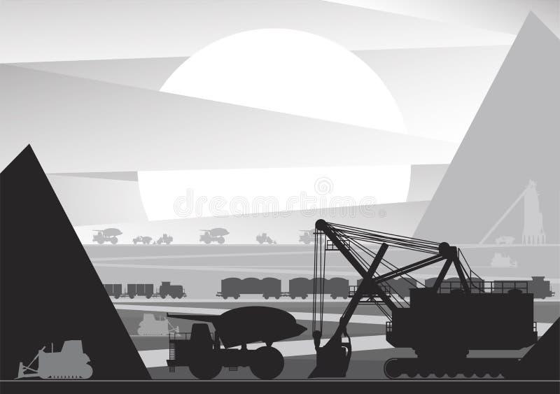 Desarrollo, extracción del mineral por método abierto ilustración del vector