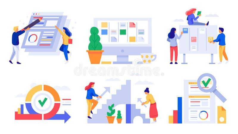Desarrollo ?gil Sprint del tablero del melé, tareas kanban del equipo directivo y vector de la estrategia del trabajo de la agili stock de ilustración