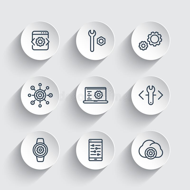 Desarrollo, ingeniería, línea iconos del ajuste fijados ilustración del vector
