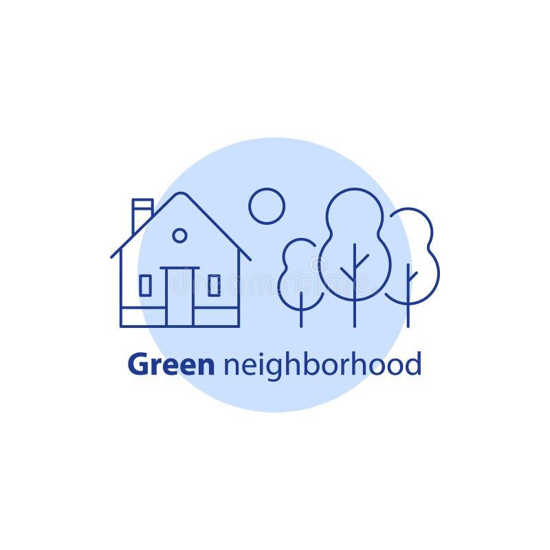 Desarrollo inmobiliario, edificio residencial con los árboles, concepto verde de la vecindad, cabaña suburbana, icono de la casa  libre illustration