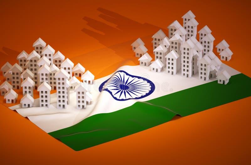 Desarrollo inmobiliario indio stock de ilustración