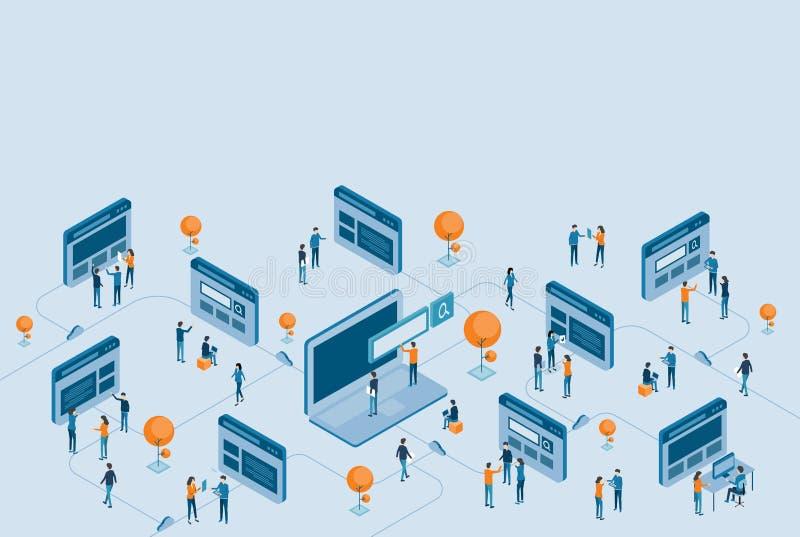 Desarrollo isométrico del diseño de la página web e investigación en línea del negocio digital libre illustration