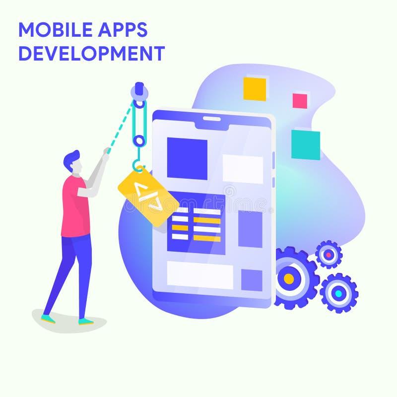 Desarrollo móvil de Apps ilustración del vector
