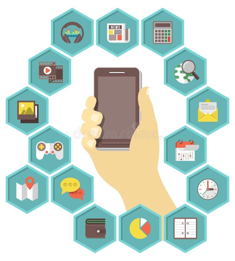 Desarrollo móvil de Apps stock de ilustración