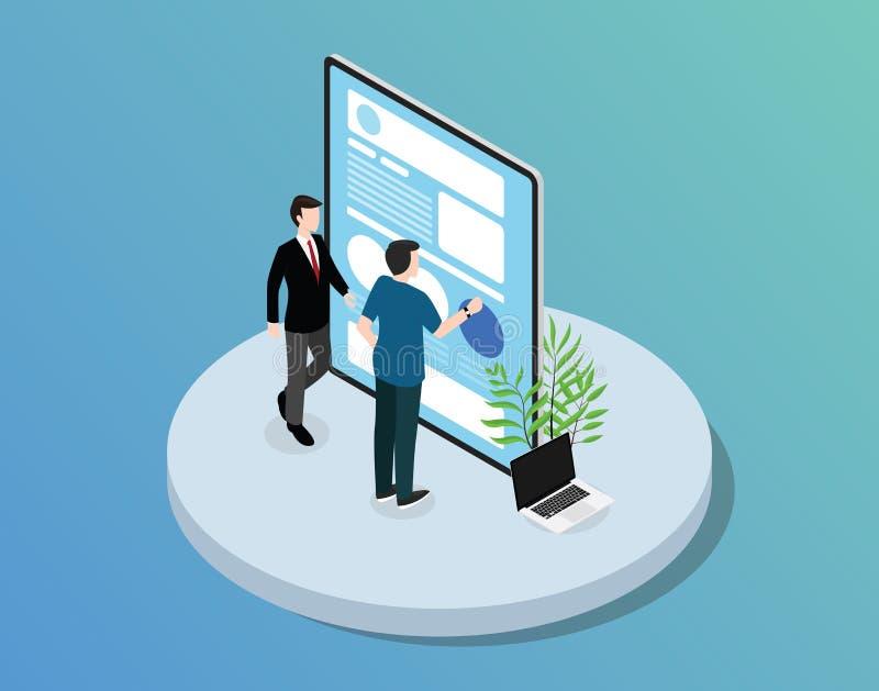 Desarrollo móvil de la página web del app con el desarrollador de la tableta y del equipo con estilo isométrico stock de ilustración