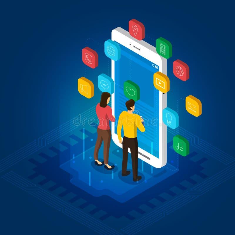 Desarrollo móvil del app stock de ilustración