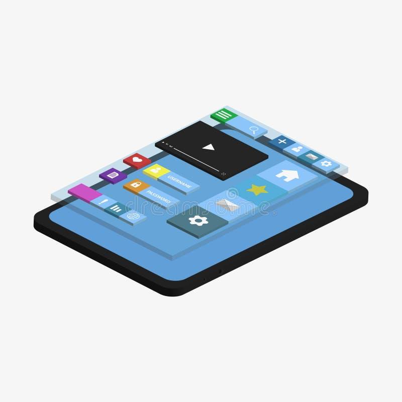 Desarrollo móvil del app ilustración del vector