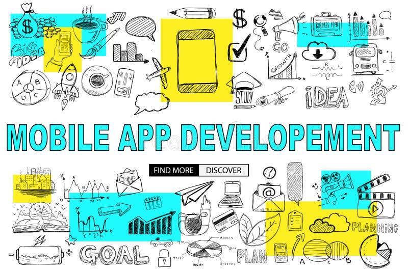 Desarrollo móvil del App con estilo del diseño del garabato: alcanzar más c stock de ilustración
