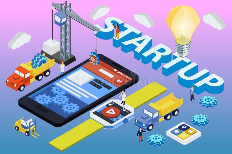 Desarrollo móvil del App, equipo experimentado 3d plano isométrico stock de ilustración