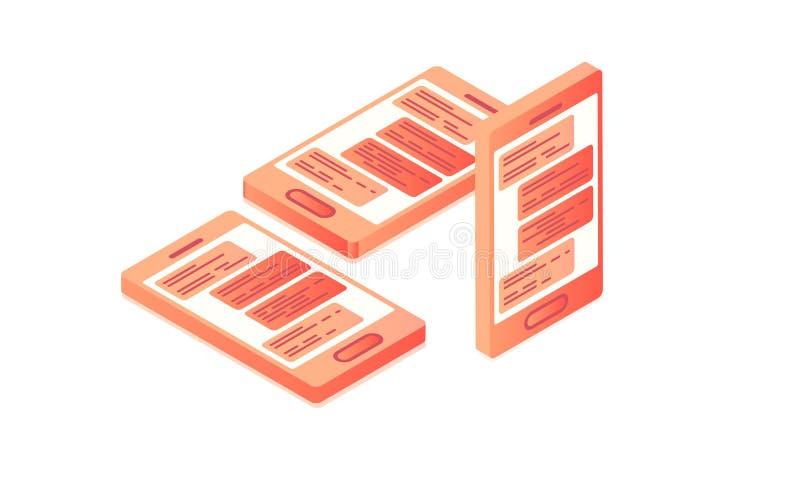 Desarrollo móvil del App, estilo isométrico plano 3d ilustración del vector