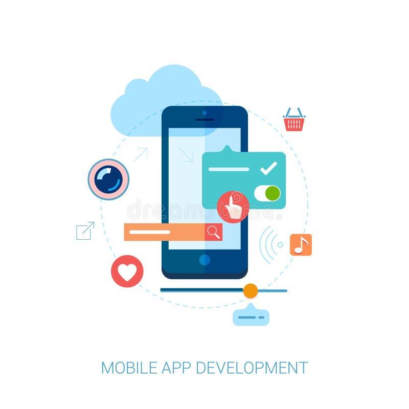 Desarrollo móvil del app para el smartphone y el anuncio planos ilustración del vector