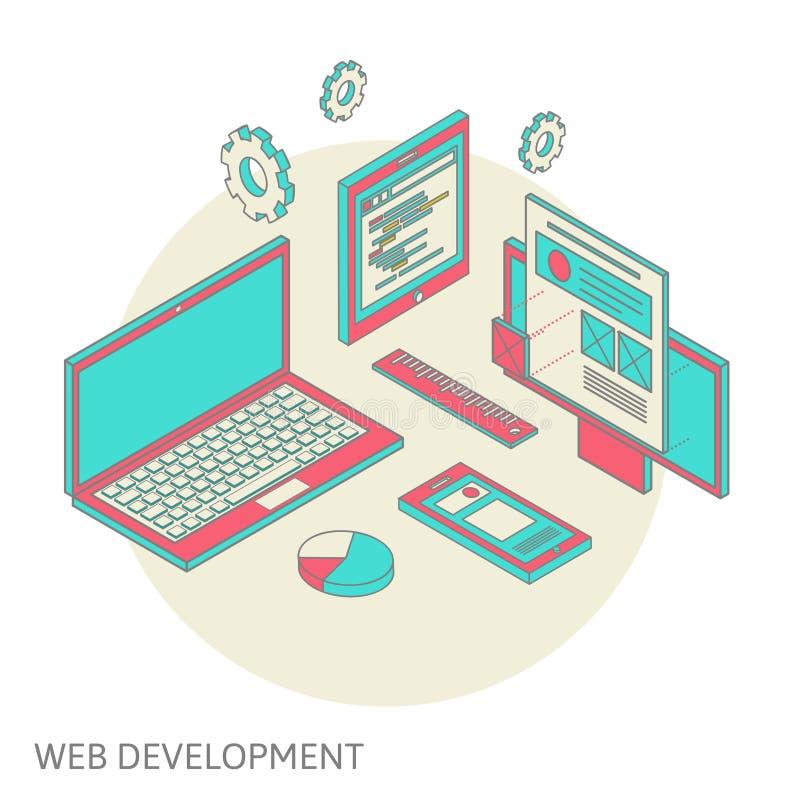 Desarrollo móvil y de escritorio del diseño del sitio web libre illustration