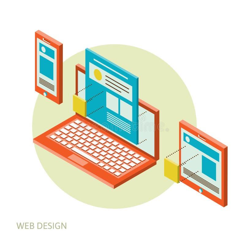 Desarrollo móvil y de escritorio del diseño del sitio web ilustración del vector