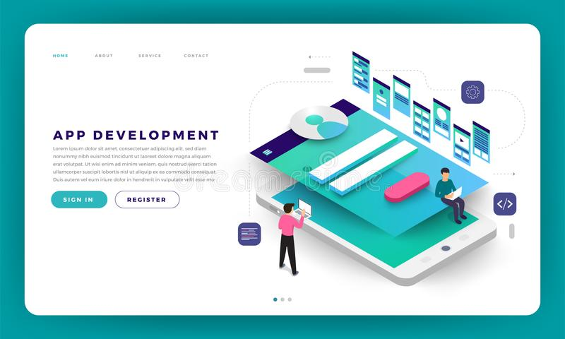 Desarrollo plano del app del concepto de diseño del sitio web del diseño de la maqueta con libre illustration