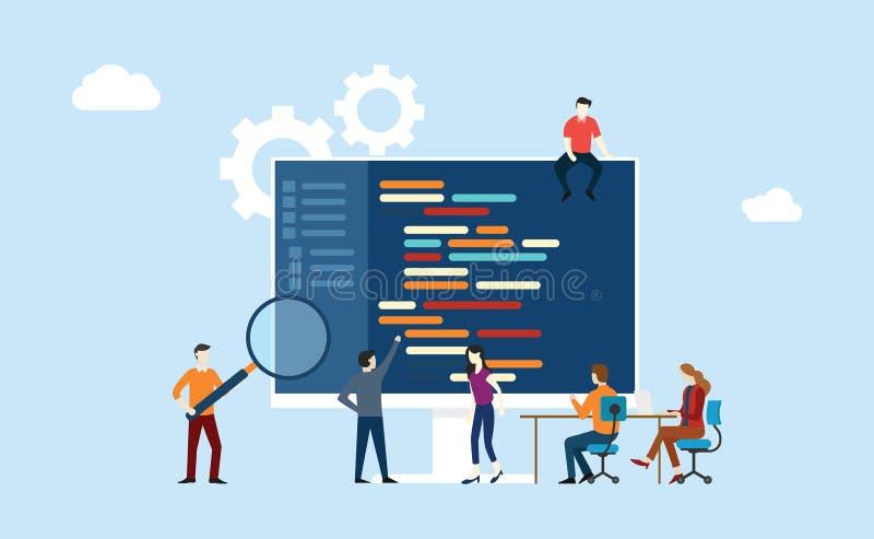Desarrollo programado del equipo que trabaja junto en el programa del código de la escritura de la oficina ilustración del vector