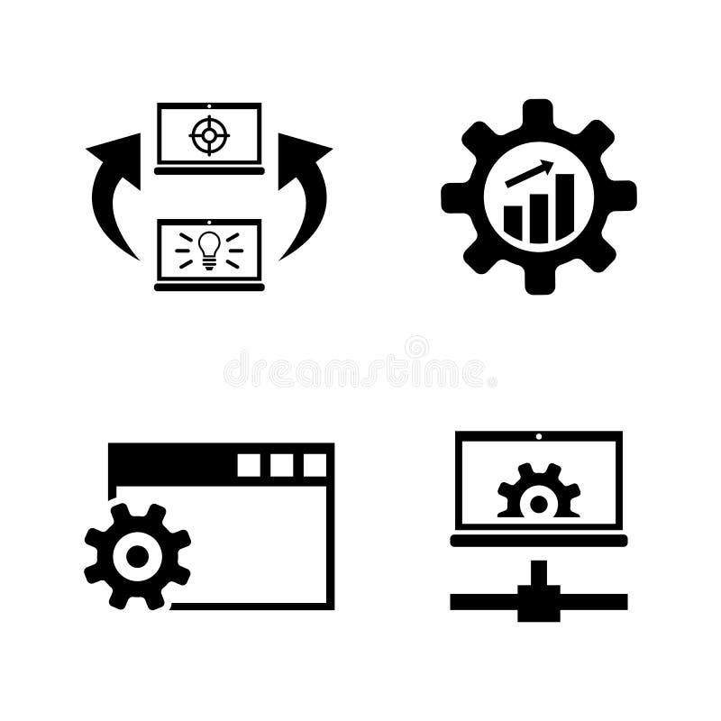 Desarrollo, programando Iconos relacionados simples del vector ilustración del vector
