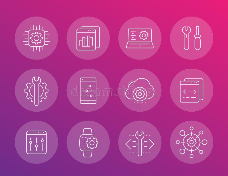 Desarrollo, servicio de configuración, iconos de los ajustes libre illustration