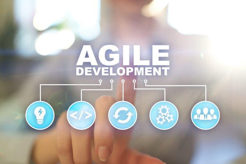 Desarrollo, software y concepto de programación ágiles del uso en la pantalla virtual fotografía de archivo libre de regalías