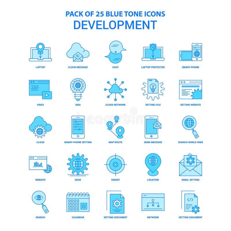 Desarrollo Tone Icon Pack azul - 25 sistemas del icono ilustración del vector