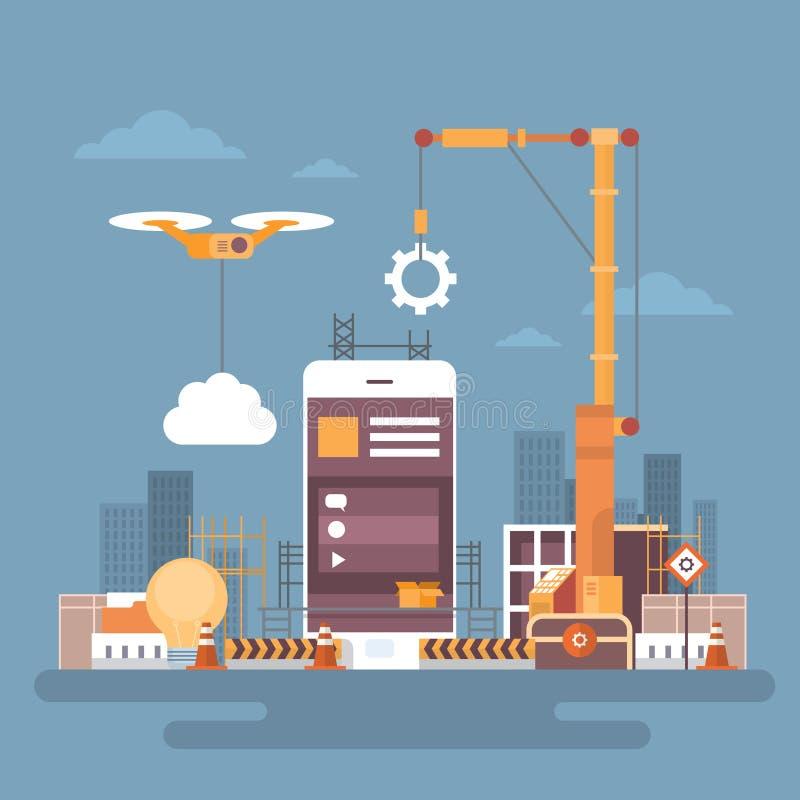 Desarrollo web de la aplicación móvil, concepto de programación elegante del App del teléfono de la célula stock de ilustración