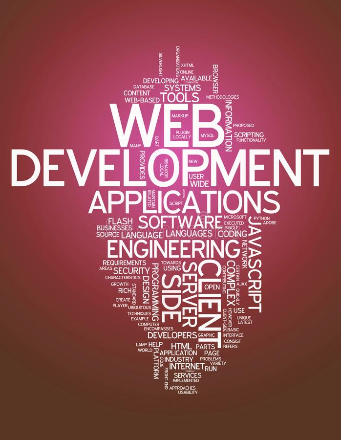 Desarrollo web de la nube de la palabra ilustración del vector