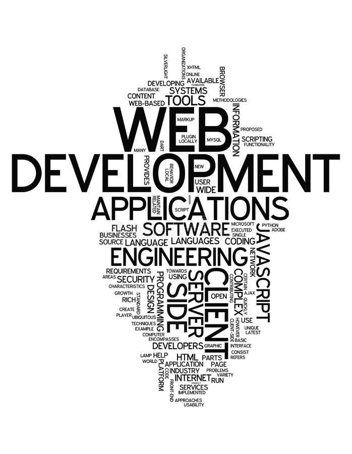 Desarrollo web de la nube de la palabra stock de ilustración