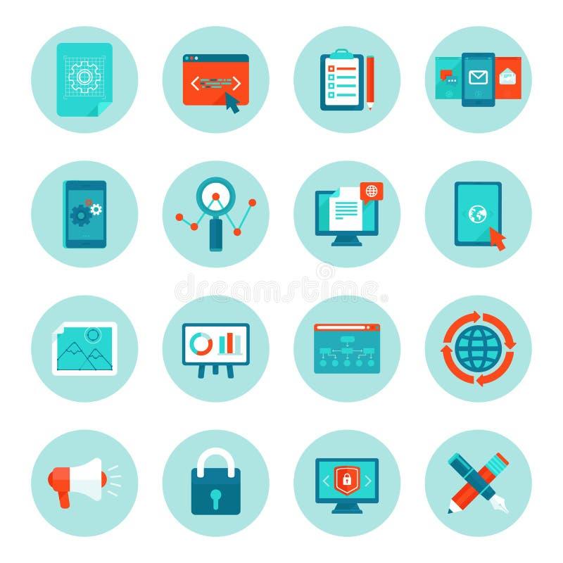 Desarrollo web del vector e iconos digitales del márketing stock de ilustración