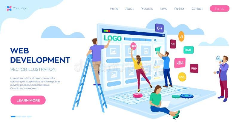 Desarrollo web El equipo de proyecto de ingenieros para el sitio web crea Edificio de la página web Diseño de UI UX Caracteres en ilustración del vector