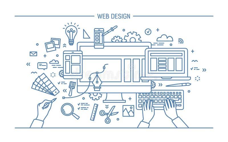 Desarrollo web, línea bandera del arte sitio con diseño responsivo Ejemplo plano del vector ilustración del vector