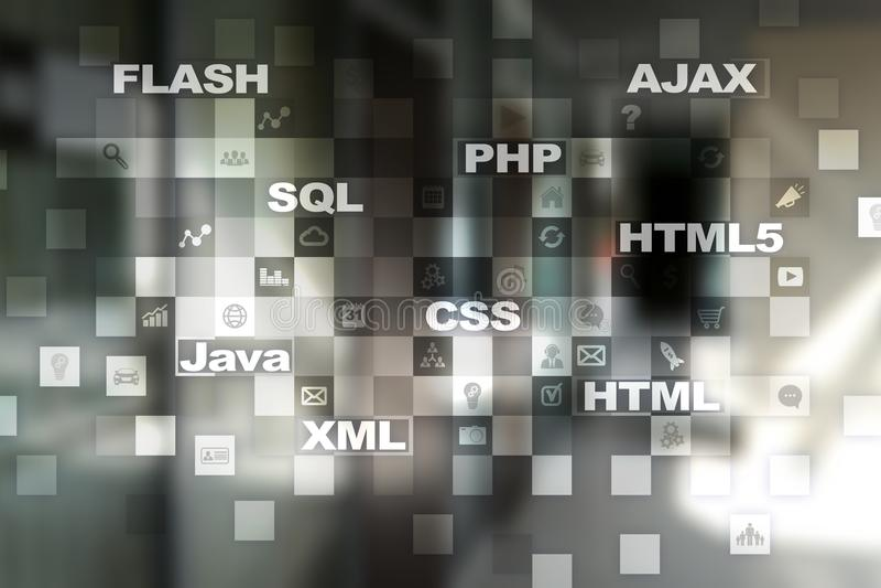 Desarrollo web programación Concepto de Internet y de la tecnología imagenes de archivo