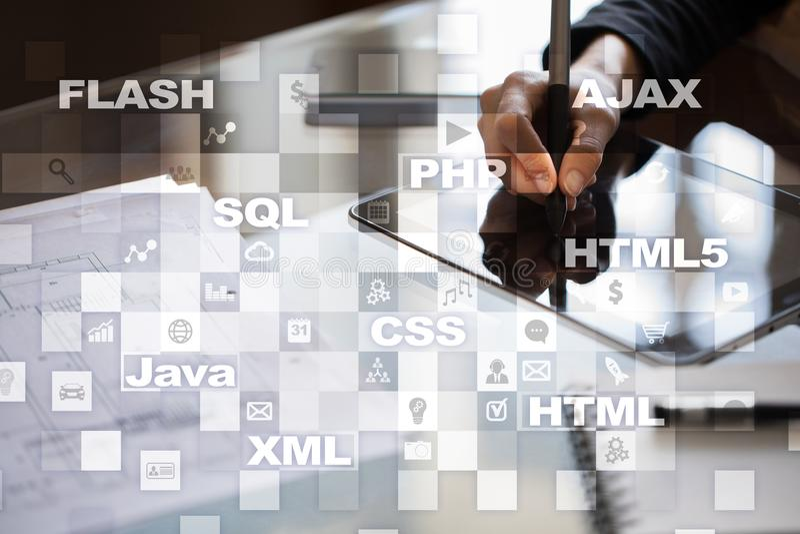 Desarrollo web programación Concepto de Internet y de la tecnología fotografía de archivo