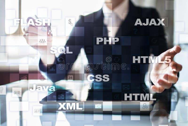 Desarrollo web programación Concepto de Internet y de la tecnología foto de archivo