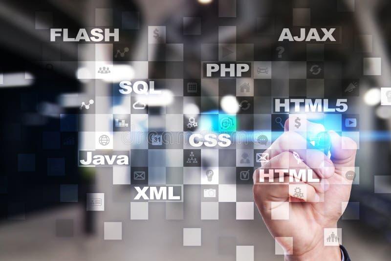 Desarrollo web programación Concepto de Internet y de la tecnología fotos de archivo