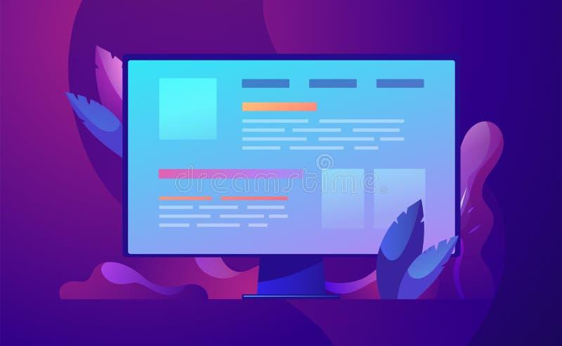 Desarrollo web y codificación del ejemplo del concepto del negocio del vector libre illustration